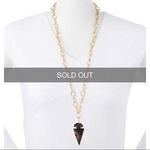 Arrowhead Black Agate Pendant Necklace